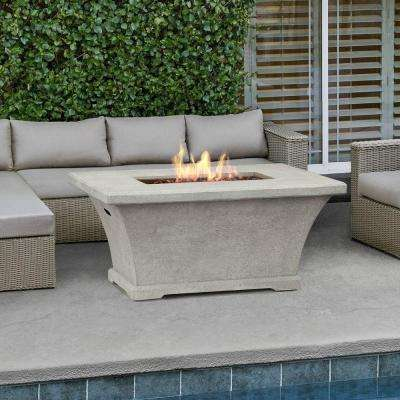 Monaco 55 in. Fiber-Concret Rectangle Chat Height Propane Gas Fire Pit in Cream