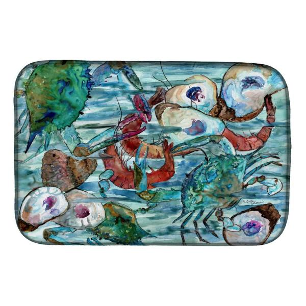 Caroline S Treasures 14 In X 21 In Multi Color Watery Shrimp Crabs And Oysters Dish Drying Mat 8964ddm The Home Depot