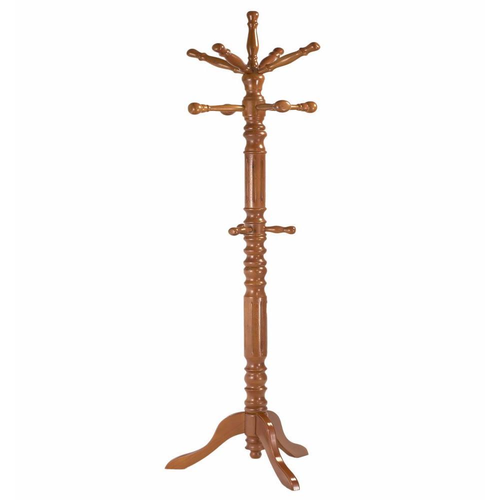 Oak 12-Hook Coat Rack