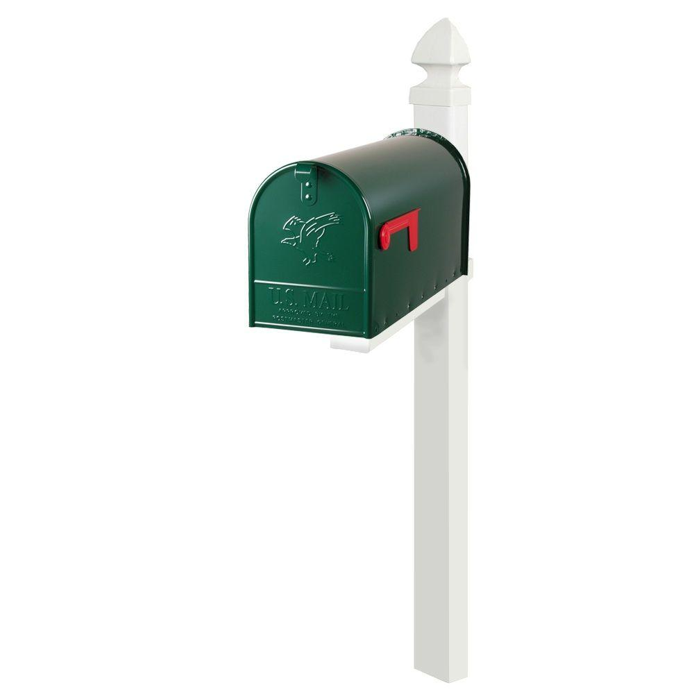 Gibraltar Mailboxes Easton Large Green Elite Steel Mailbox and White Deluxe Plastic Post with Cross Arm Combo