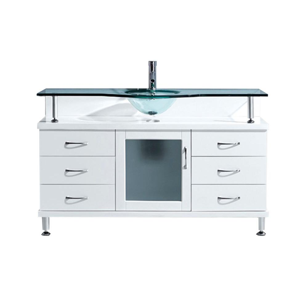 Virtu USA Vincente 55.12 in. W x 21.65 in. D x 33.54 in. H White Vanity With Glass Vanity Top With Aqua Round Basin