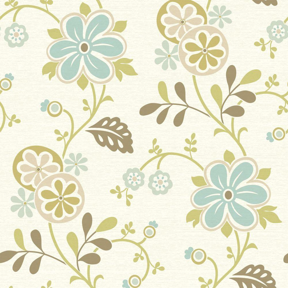 Amelie Blue Modern Floral Trail Wallpaper Sample