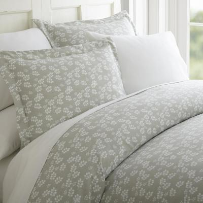 Wheat Field Patterned Performance Gray King 3-Piece Duvet Cover Set
