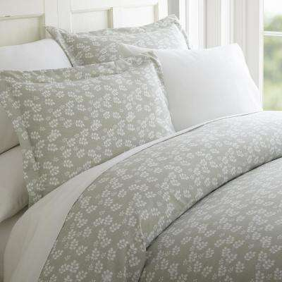 Wheat Field Patterned Performance Gray Queen 3-Piece Duvet Cover Set