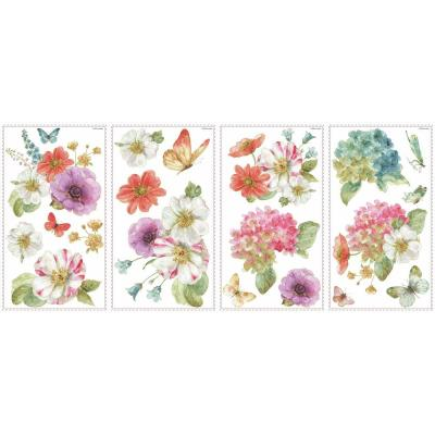 5 in. x 11.5 in. Lisa Audit Garden Bouquet 20-piece Peel and Stick Wall Decals