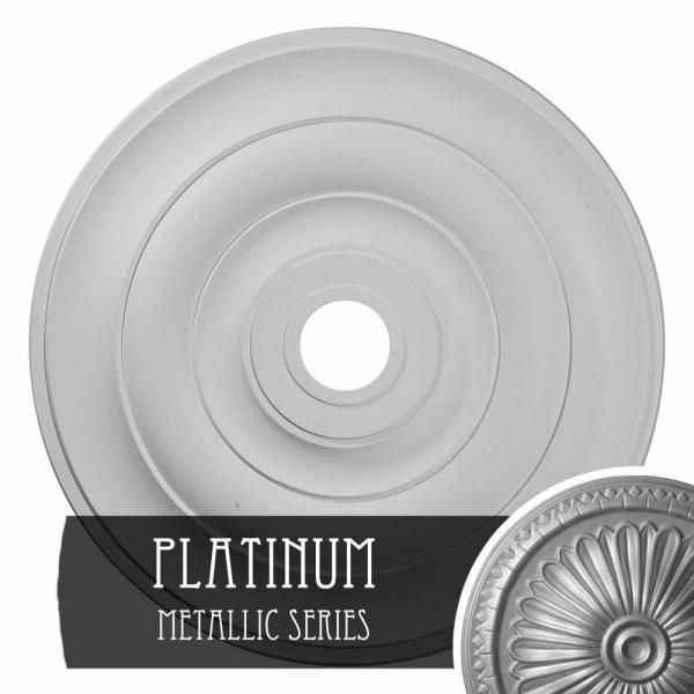 Ekena Millwork 1 1 2 In X 26 1 2 In X 26 1 2 In Polyurethane Jefferson Ceiling Medallion Platinum Cm26jepls The Home Depot