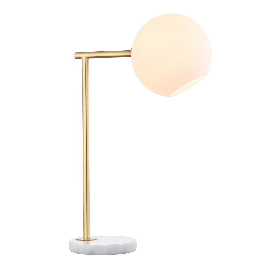 Charles 20.5 in. Gold/White Metal/Marble LED Table Lamp