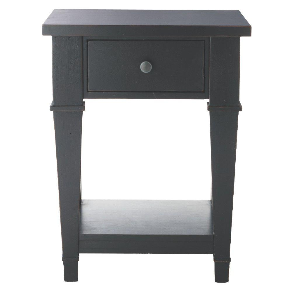 Home Decorators Collection Bridgeport 1-Drawer Nightstand in Distressed Black