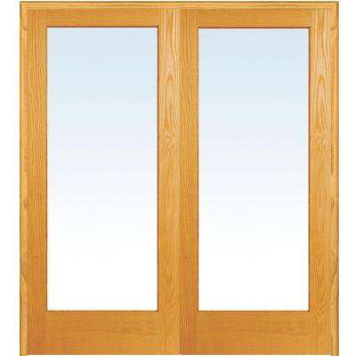 60 in. x 80 in. Both Active Unfinished Pine Wood Full Lite Clear Prehung Interior French Door