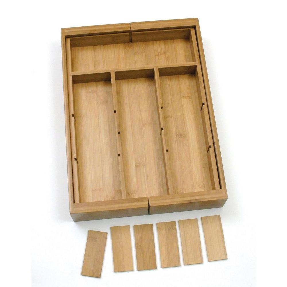 Bamboo Expandable Adjule Drawer Organizer 8882 The Home Depot