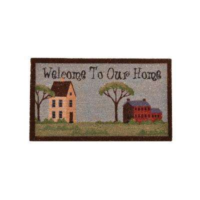 Outdoor Welcome To Our Home 1 ft. 6 in. x 2 ft. 6 in. Coir and Vinyl Door Mat