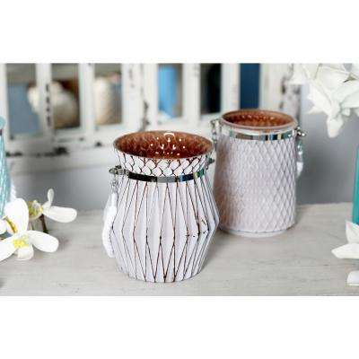 Brown Candle Lanterns with White Accents (Set of 2)