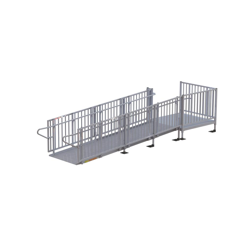 Titan 14 ft. Aluminum Commercial Modular Ramp with Platform and Handrails