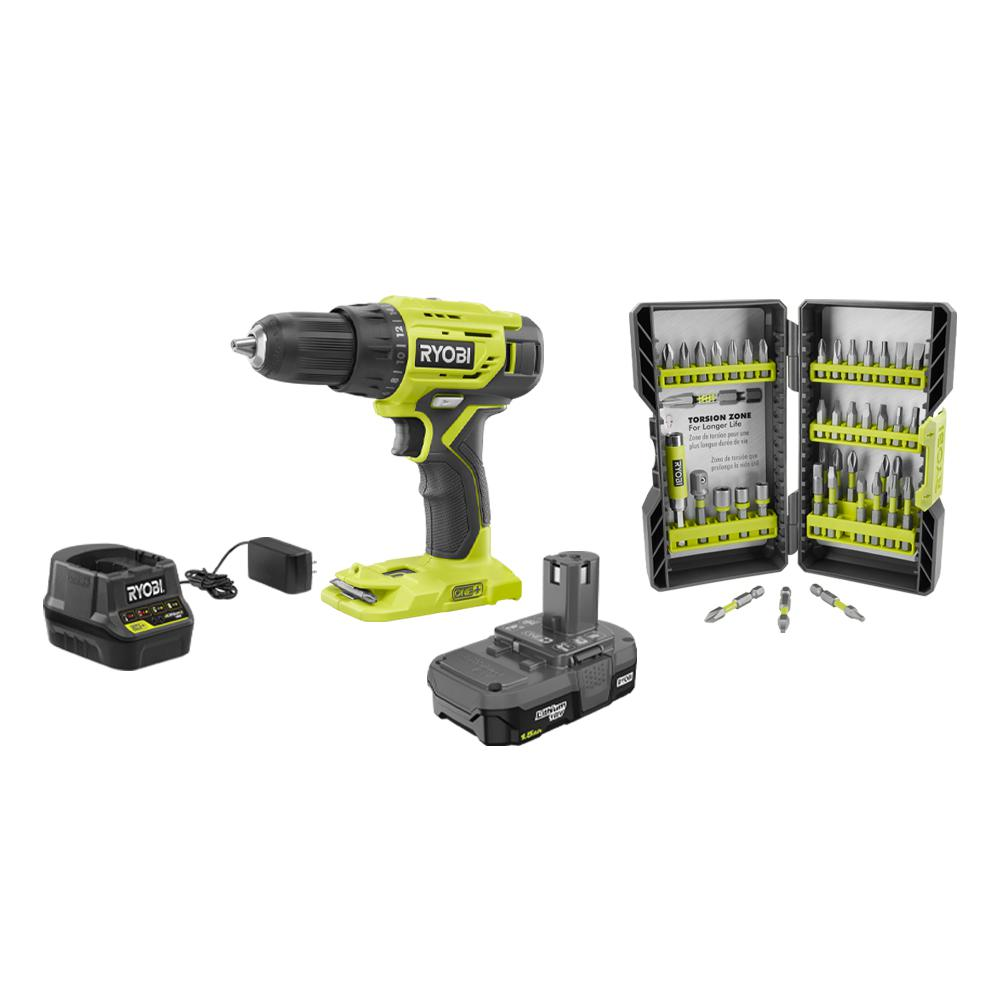 RYOBI 18-Volt Cordless ONE+ 1/2in Drill/Driver Kit w/(1) 1.5 Ah Battery and Charger and Impact Rated Driving Kit (40-Piece)