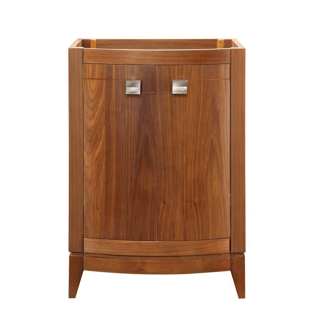 DECOLAV Gavin 24 in. W x 21.50 in. D x 35.25 in. H Birch Vanity Cabinet Only in Medium Walnut