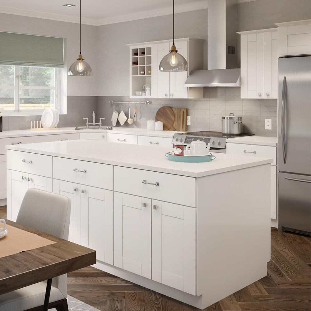 Hampton Bay Princeton Shaker Assembled 30x24x15 in. Wall Deep Cabinet in  Warm White