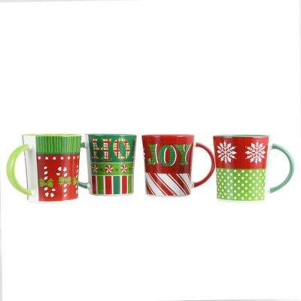 Holiday Wrap 15 oz. Assorted Funky Mugs ( Set of 4)