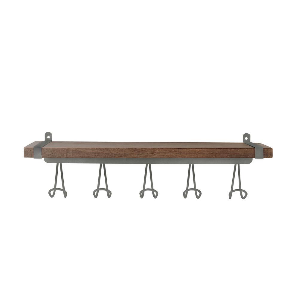 Vintage Wall Mount 5-Hook Wood Shelf in Industrial Gray