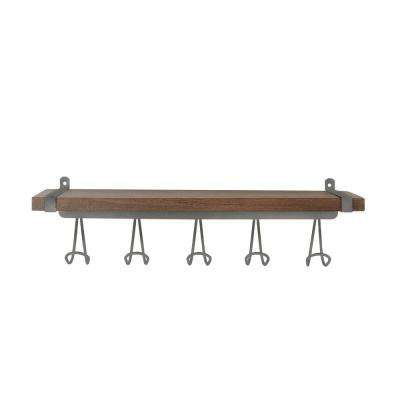 Vintage Wall Mount 5-Hook Wood Shelf in Industrial Gray