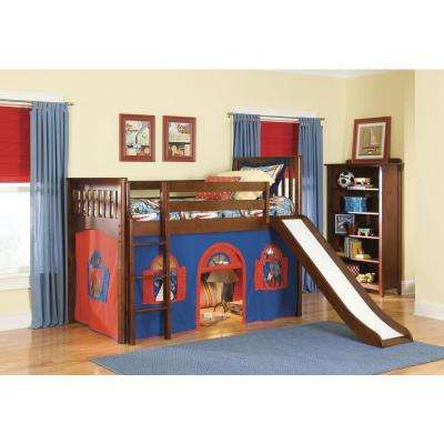 Mission Cherry Twin Low Loft Bed with Blue and Red Bottom Playhouse Curtain and Slide
