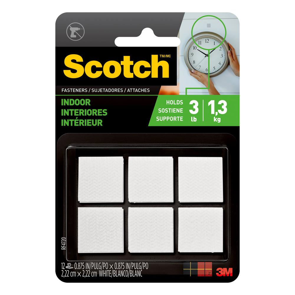 Scotch 7/8 in. x 7/8 in. White Indoor Fasteners (12 Sets-Pack)