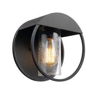 Neruda Matte Black Outdoor Indoor Wall Lantern Sconce with Seeded Glass Shade