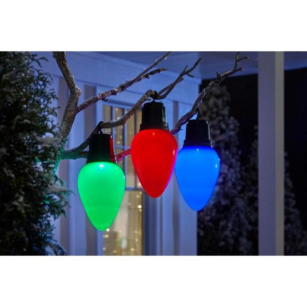 Home Accents Holiday 13 In Led Jumbo Bulb With Timer Green 8211 13871 The Home Depot