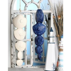 White and Blue Ceramic Scallop Shell Wind Chimes (Set of 2) by