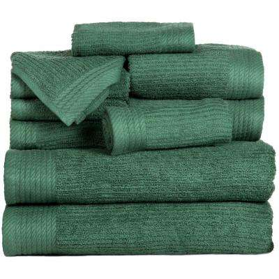 10-Piece Ribbed Egyptian Cotton Towel Set in Green