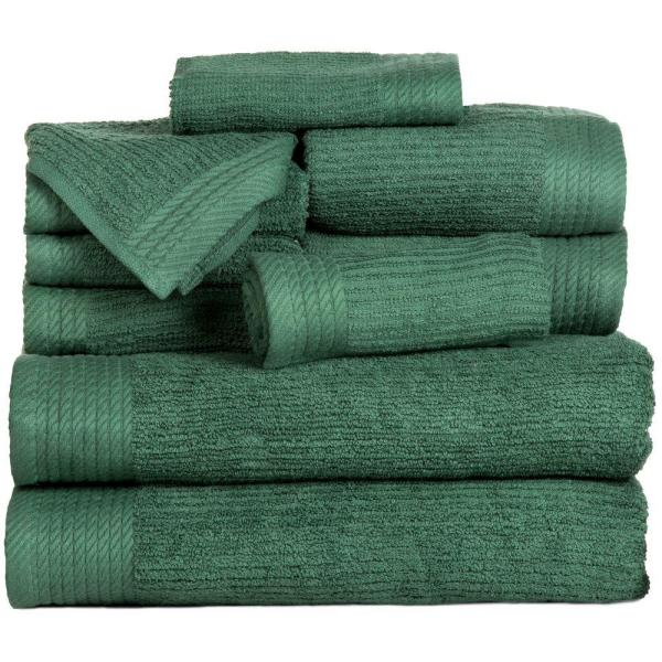 Lavish Home 10-Piece Ribbed Egyptian Cotton Towel Set in Green 67-0021-G