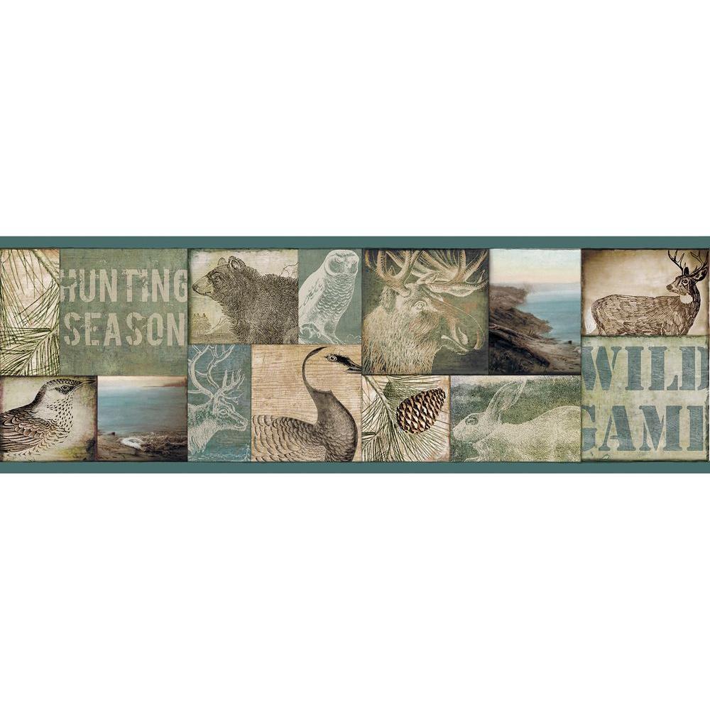 Trumball Wild Game Wallpaper Border Blue