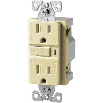 15 Amp 125-Volt NEMA 5-15 Specification Grade Tamper Resistant Duplex GFCI with Mid-Size Wall Plate, Almond
