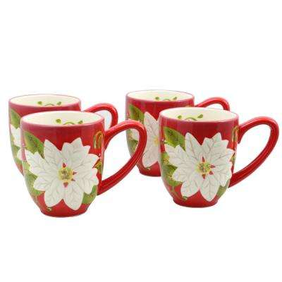 Pleasant Poinsettia 16 oz. Red Mug (Set of 4)