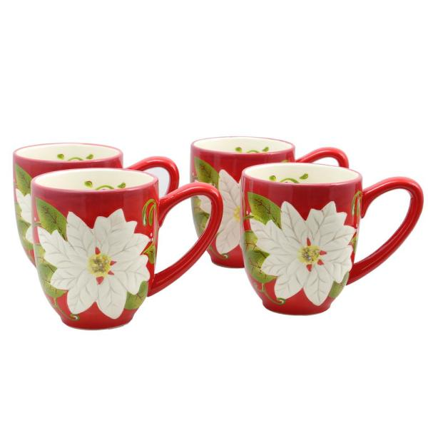 Laurie Gates Pleasant Poinsettia 16 oz. Red Mug (Set of 4)