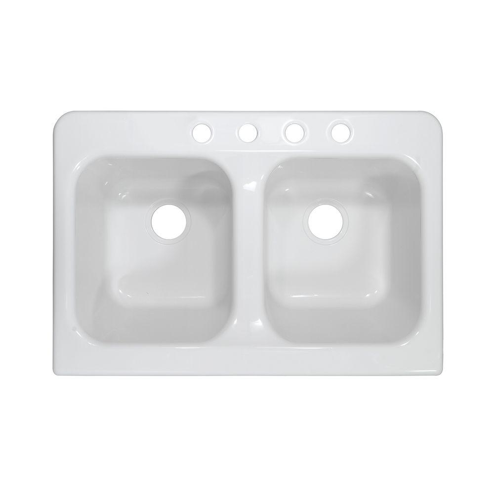 Lyons Industries Apron Drop-In Acrylic 34 in. x 23 in. x 10 in. 4-Hole 50/50 Double Bowl Kitchen Sink in White