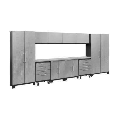 Performance 2.0 Diamond Plate 77.25 in. H x 156 in. W x 18 in. D Stainless Steel Worktop Cabinet Set Silver (12-Piece)