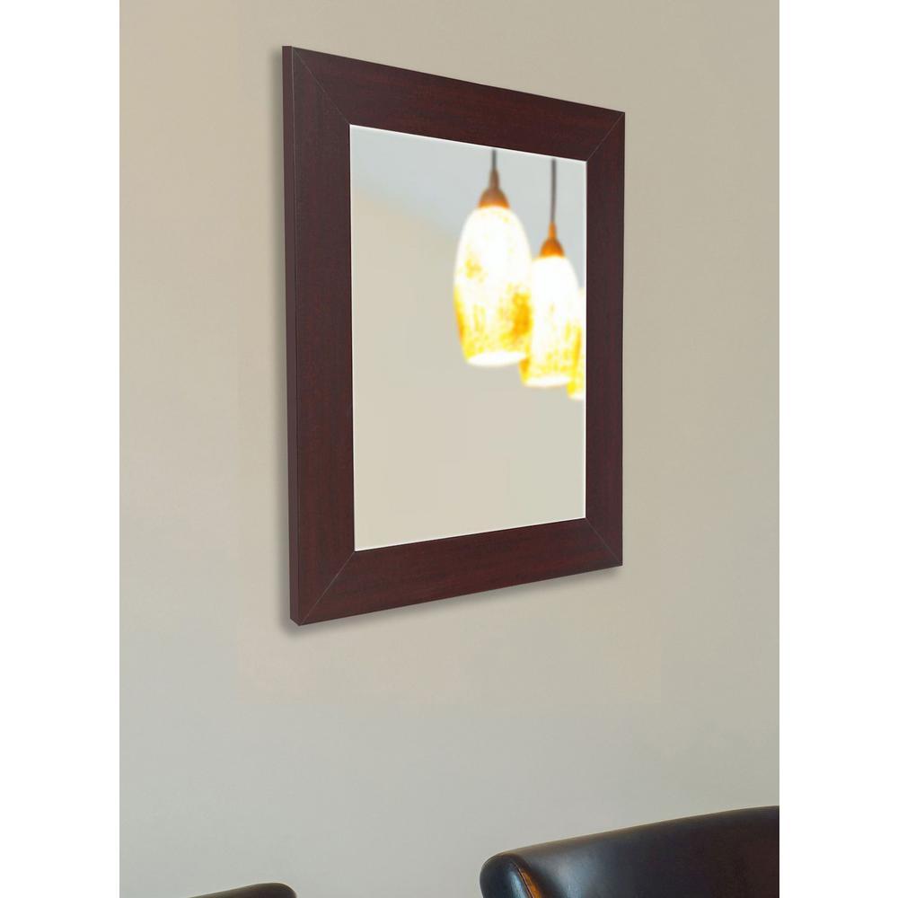 35.5 in. x 29.5 in. Dark Mahogany Non Beveled Vanity Wall Mirror
