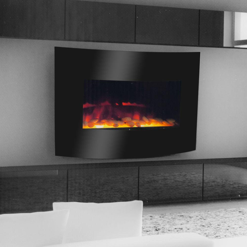 Warm House Curved Glass 25 in. Electric Fireplace in Black