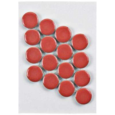 Hudson Penny Round Vermilio Porcelain Mosaic Tile - 3 in. x 4 in. Tile Sample