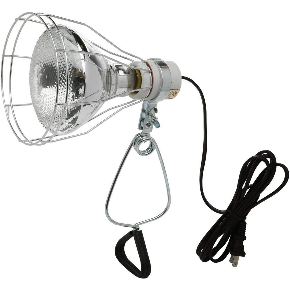 Southwire 150-Watt 6 ft. 18/2 SPT-2 Incandescent Portable Clamp Work Light with Open Metal Grill Guard