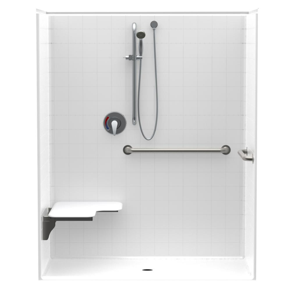 Aquatic Accessible Smooth Tile AcrlyX 60 in. x 34 in. x 74.9 in. 1 ...