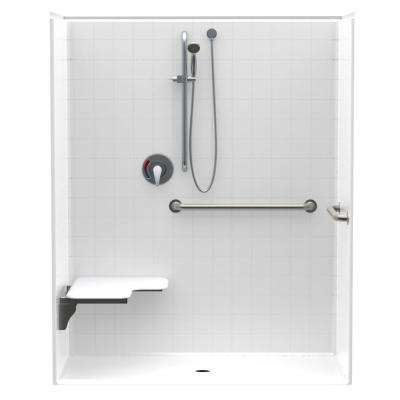 Accessible Smooth Tile AcrlyX 60 in. x 34 in. x 74.9 in. 1-Piece ADA Shower Stall w/ Left Seat and Grab Bars in White