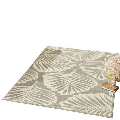 Verbana Green and Ivory 5 ft. x 8 ft. Tropical Indoor/Outdoor Area Rug