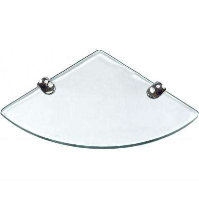 10 in. D x 10 in. W x 0.24 in. H Clear Glass Floating Corner Decorative Wall Shelf with Chrome Nylon Brackets