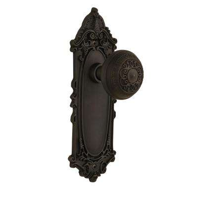 Victorian Plate 2-3/8 in. Backset Oil-Rubbed Bronze Passage Hall/Closet Egg and Dart Door Knob