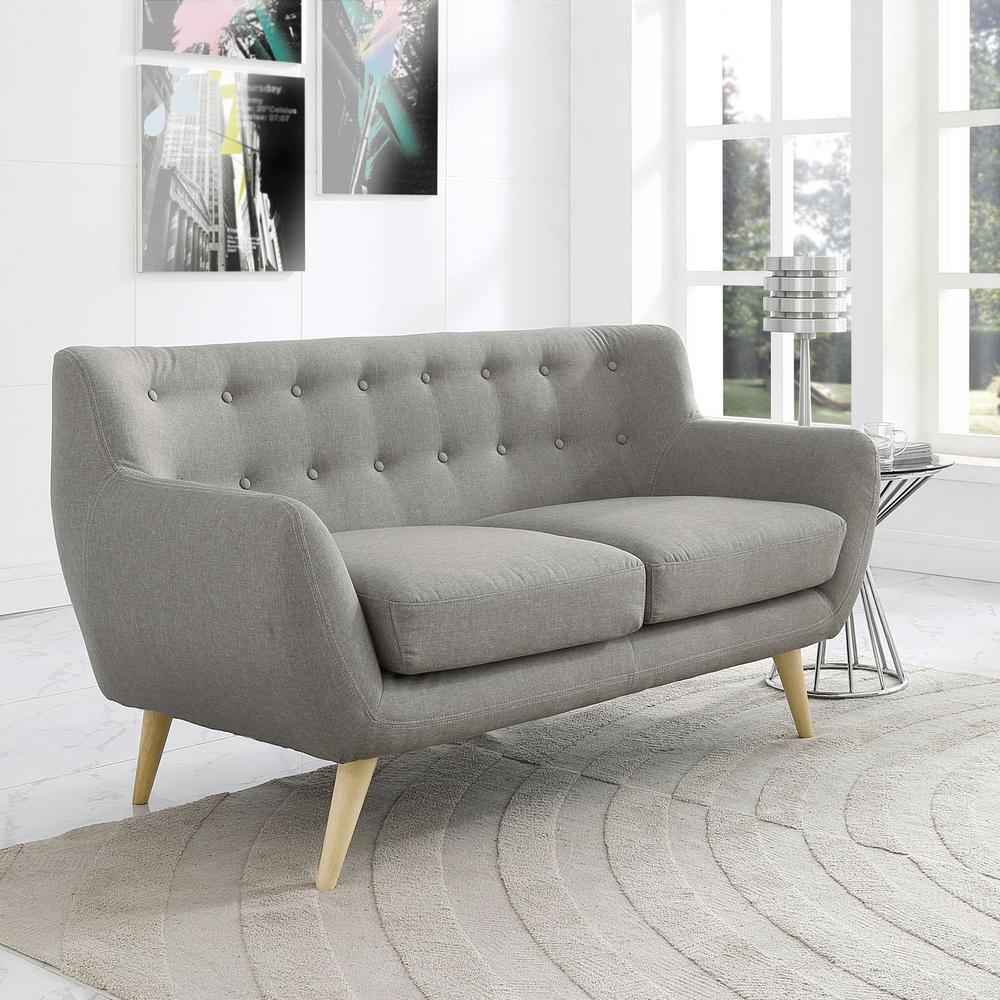 Remark Light Gray Upholstered Fabric Loveseat