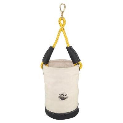 10 in. 1-Pocket Canvas Utility Tool Bucket with Leather Bottom in White