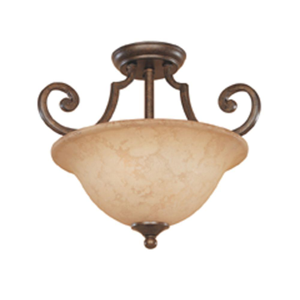 Vienna 2-Light Forged Sienna Ceiling Semi-Flush Mount Light