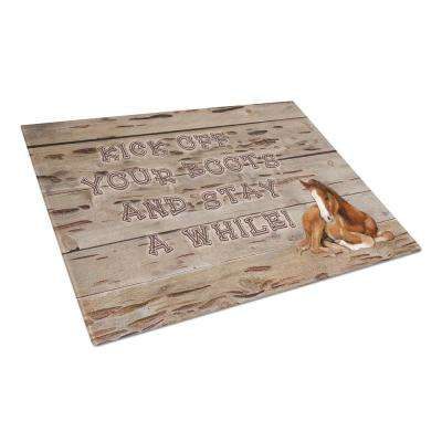 Kick Off Your Boots and Stay a While Tempered Glass Large Cutting Board