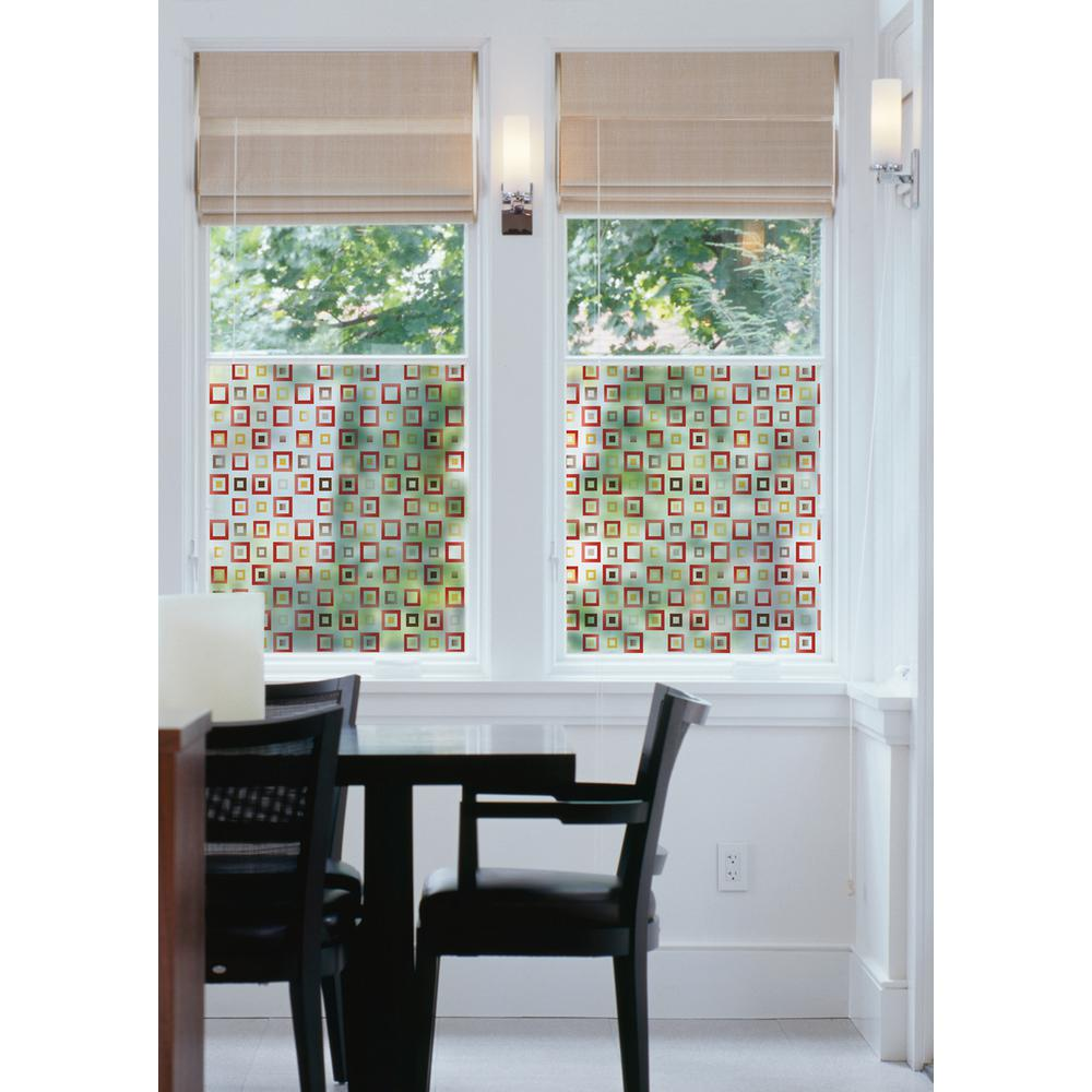 DC Fix 17.7 in. x 59 in. Klimt Red Window Film Bringing privacy to your glass along with a dynamic style, this window film has a chic geometric pattern in red, yellow and brown. The concentric squares pattern is modern and striking, while providing privacy and filtering the light. For the perfect fit, this window film can be cut to any shape and size.